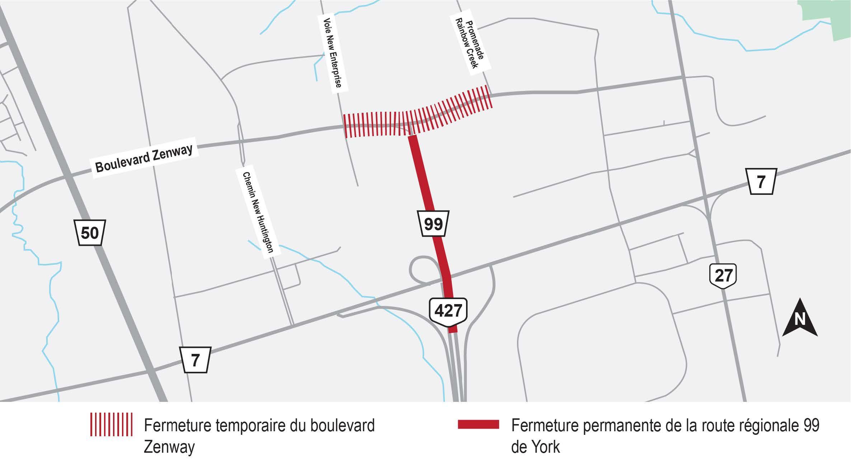 Carte illustrant l'emplacement de la fermeture temporaire du boulevard Zenway