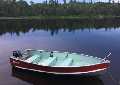 red aluminum boat on river