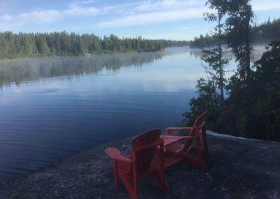 red muskoka chairs on Adirondack chairs