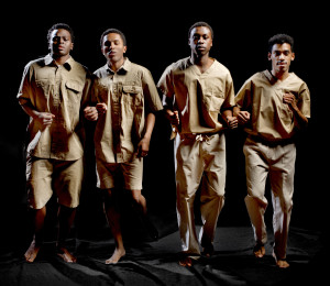 In this production, Jamil Joseph and Ryan Fields play Robben Island inmates. Chiedu Mbonu and Theophilus Timothy represent modern American prisoners. Photo by KeneK.