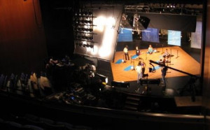 An aerial View of GWL Theater stage