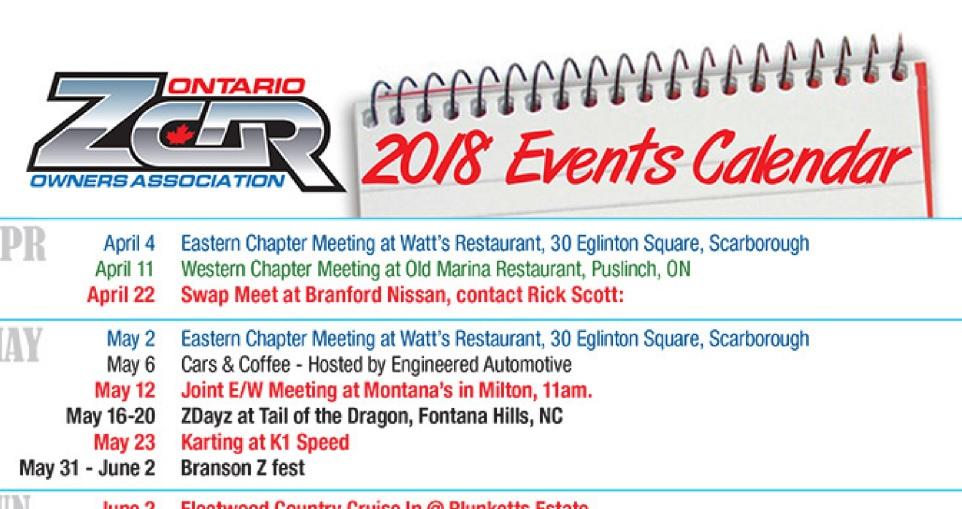 OZC 2018 Events Calendar