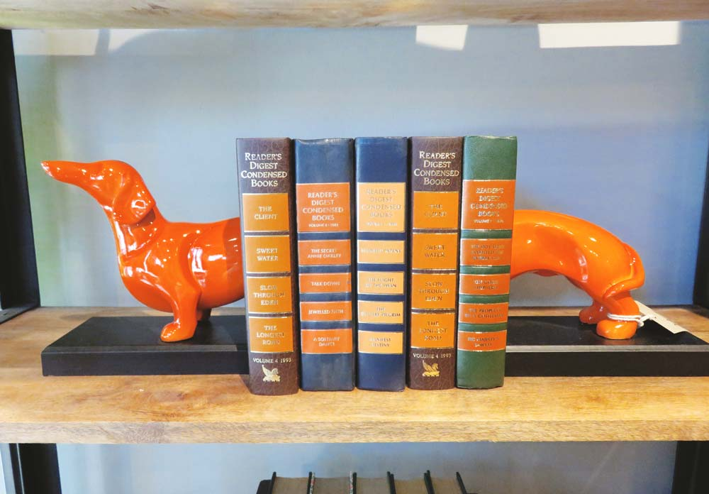 Ceramic dog bookends, $49