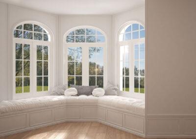 Big window with garden meadow panorama, minimalist empty space,