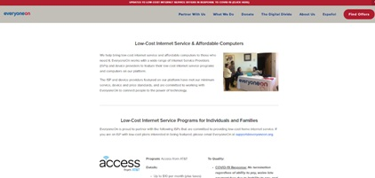 Screenshot of low-cost internet services on EveryoneOn.org website