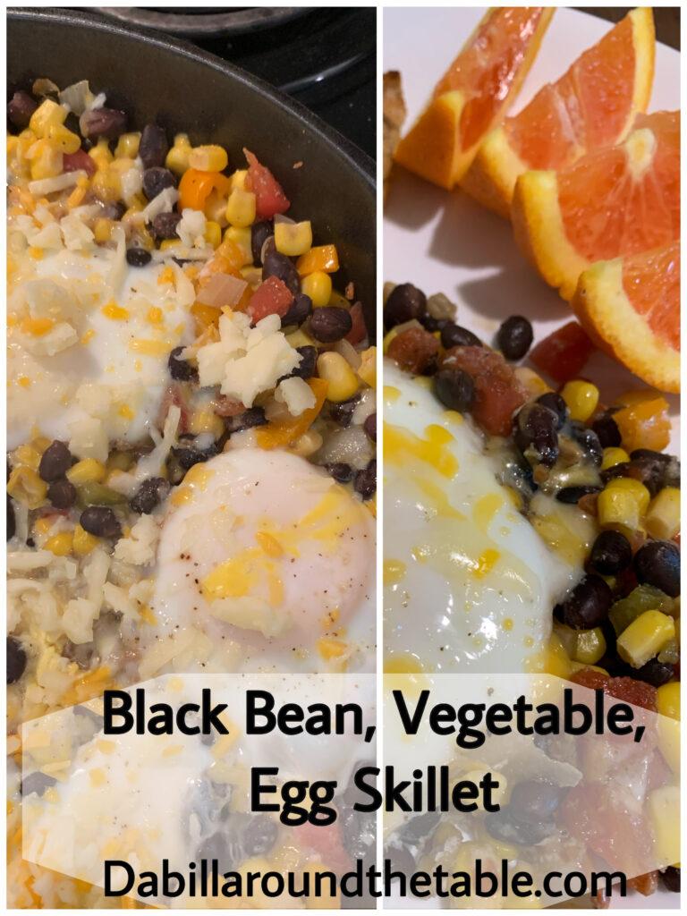 Black Bean, Vegetable, Egg Skillet