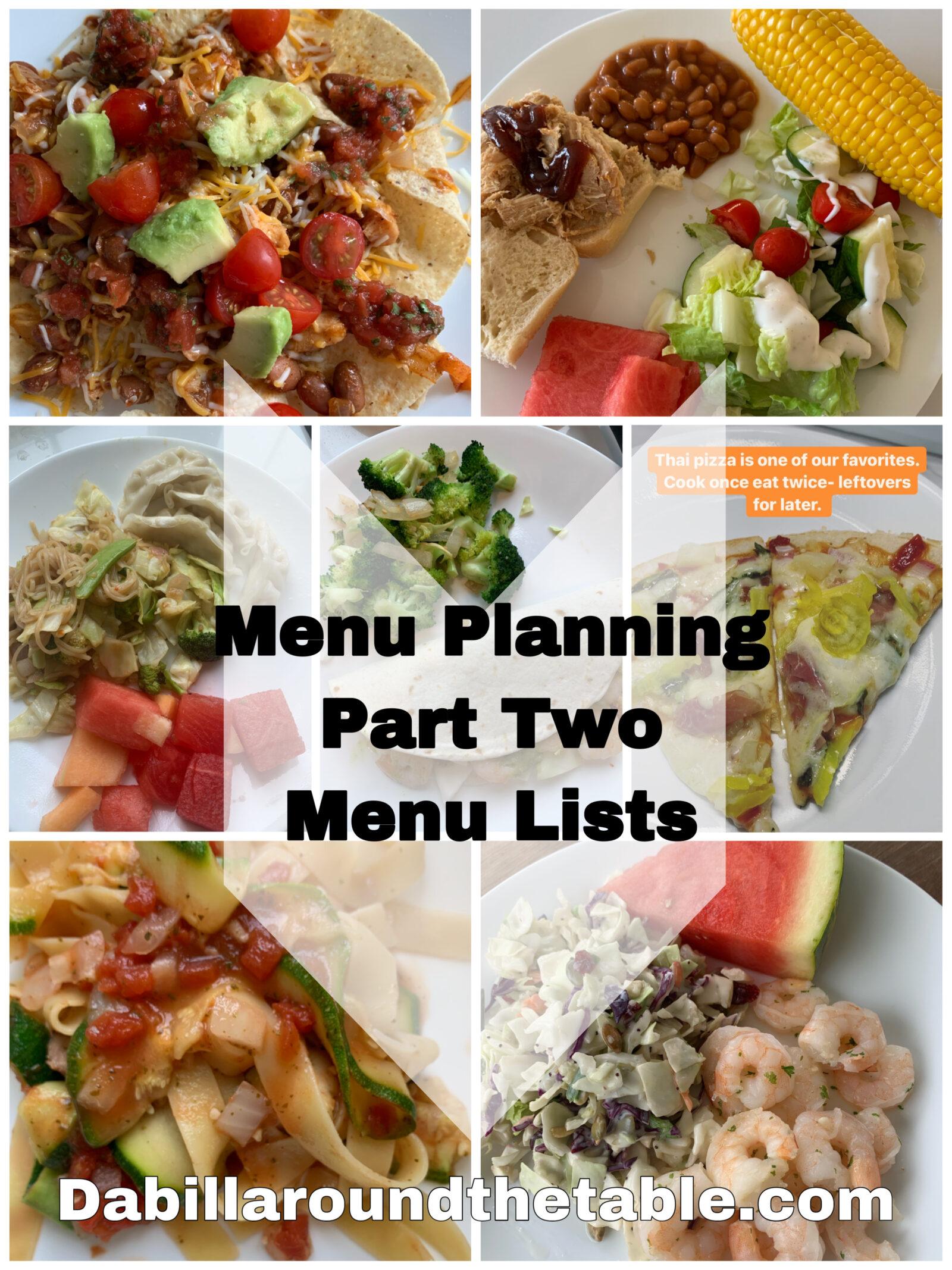 Menu Planning Part two