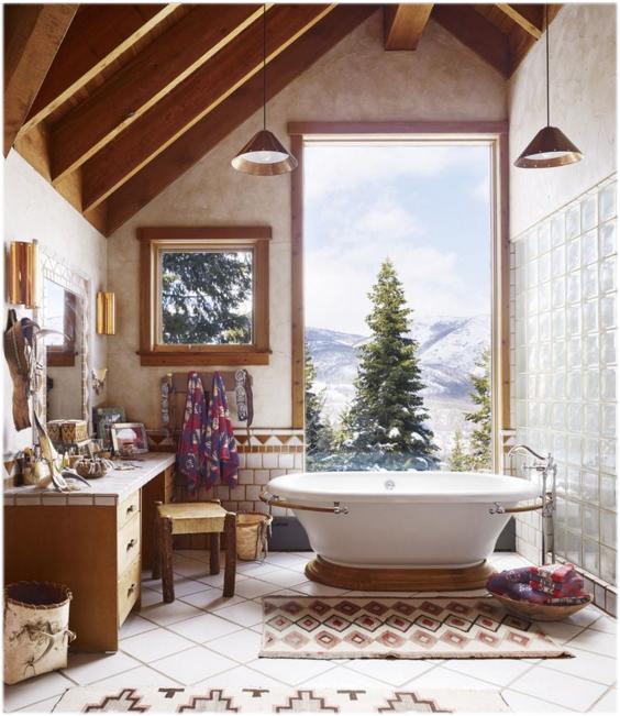 neutral bathroom kilim