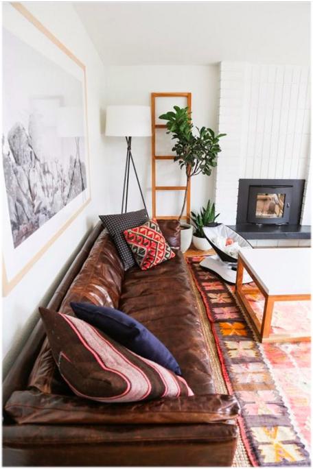 worn in brown leather sofa