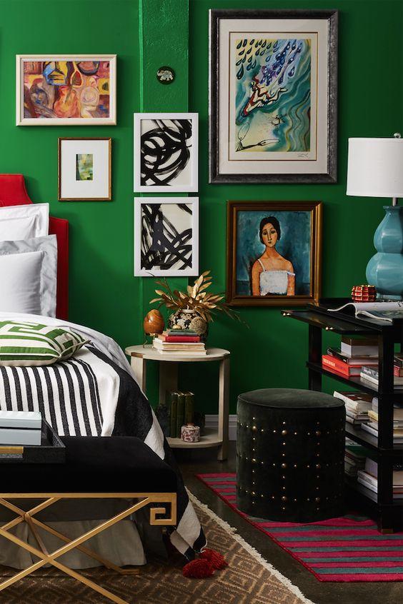 Green eclectic bedroom