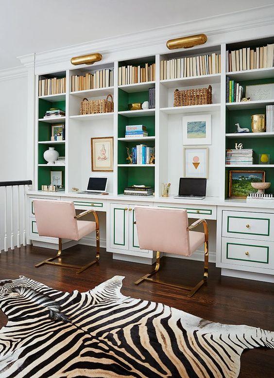 green paint bookshelf