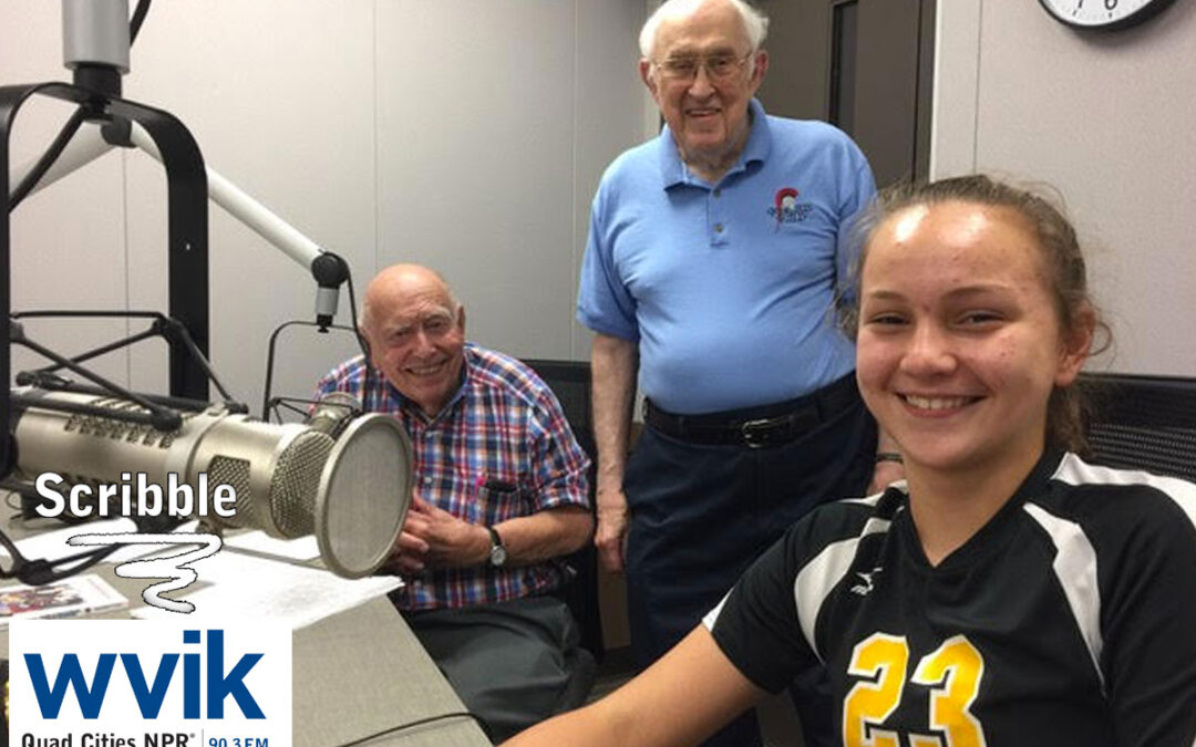 Lucy sits down and Scribbles on WVIK-FM