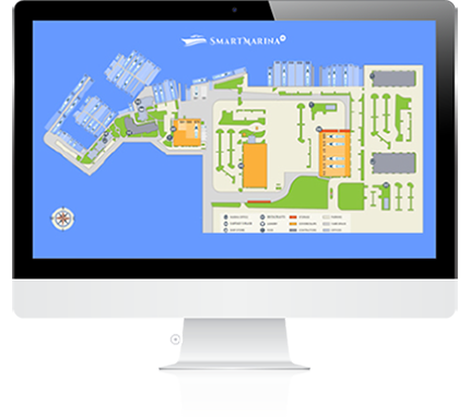 interactive map showing slips and vessels. Complete overview of marina management. Best marina software feature based on CRM technology