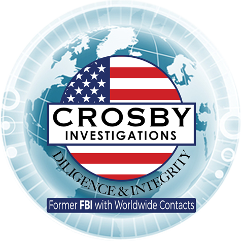 the logo for Crosby Investigations is a world globe with the words Diligence and Integrity