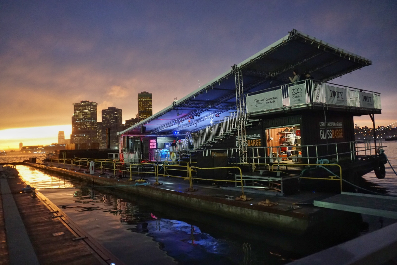 CMOG GlassBarge at Sunset in Brooklyn - Corning Museum of Glass