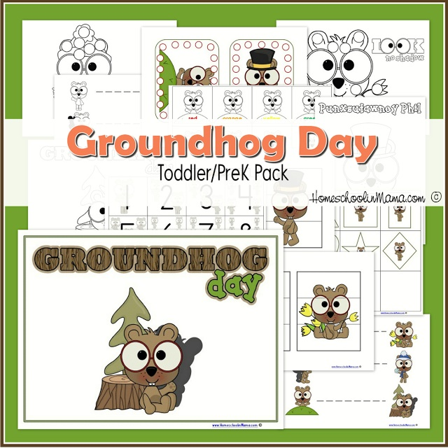 Groundhog Day Toddler/PreK Learning Pack from HomeschoolinMama.com