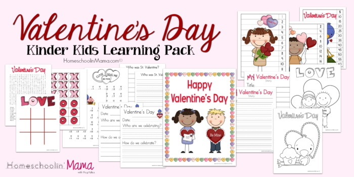 Valentine's Day Kinder Kids Learning Pack