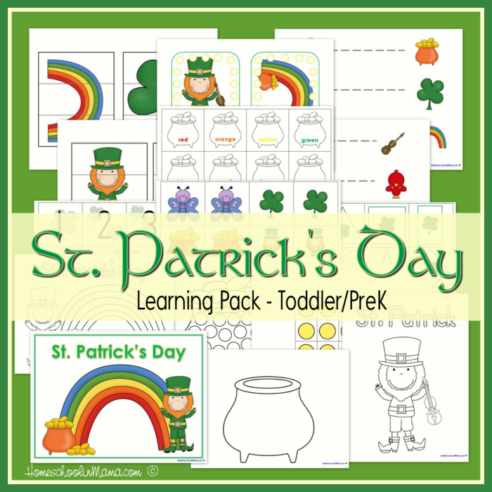 St. Patrick's Day Learning Pack Printables for Toddler and Preschoolers