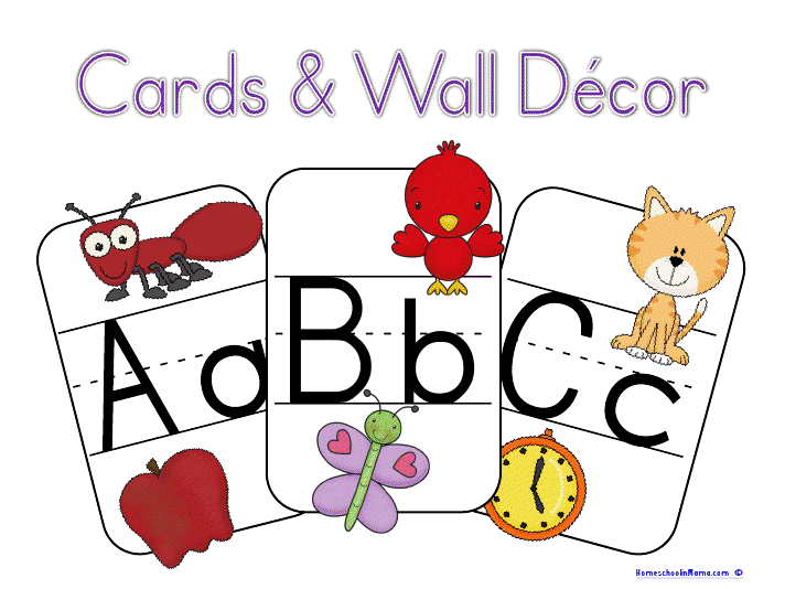 picture regarding Abc Cards Printable referred to as Clean Printable - ABC Playing cards Wall Decor Homeschoolin Mama