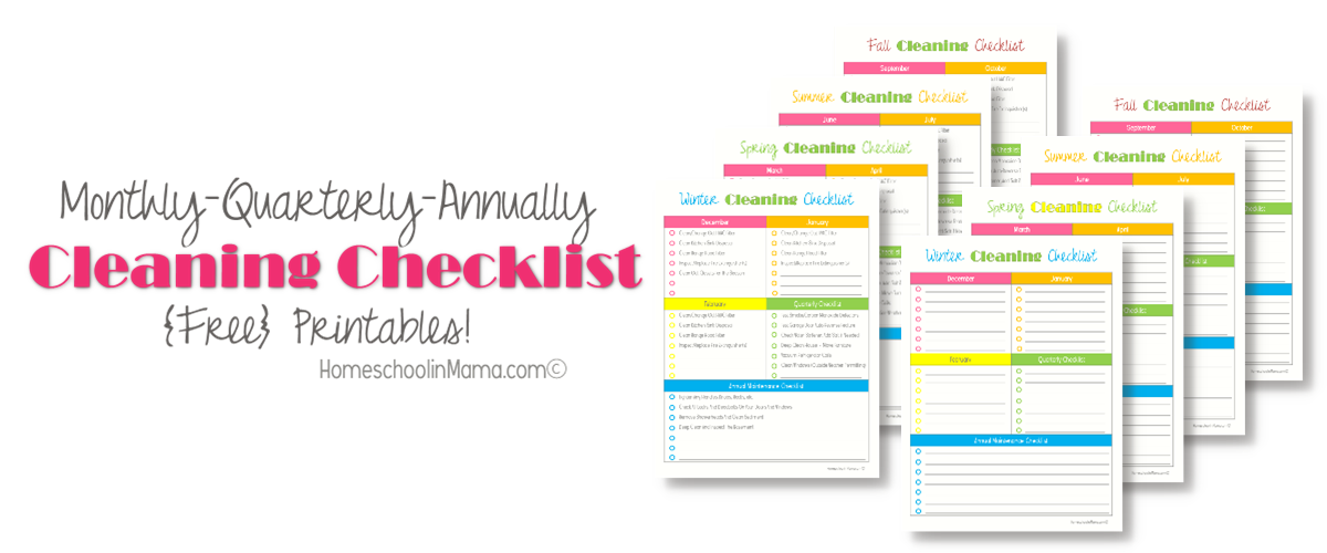 Monthly/Quarterly/Annually Cleaning Checklist