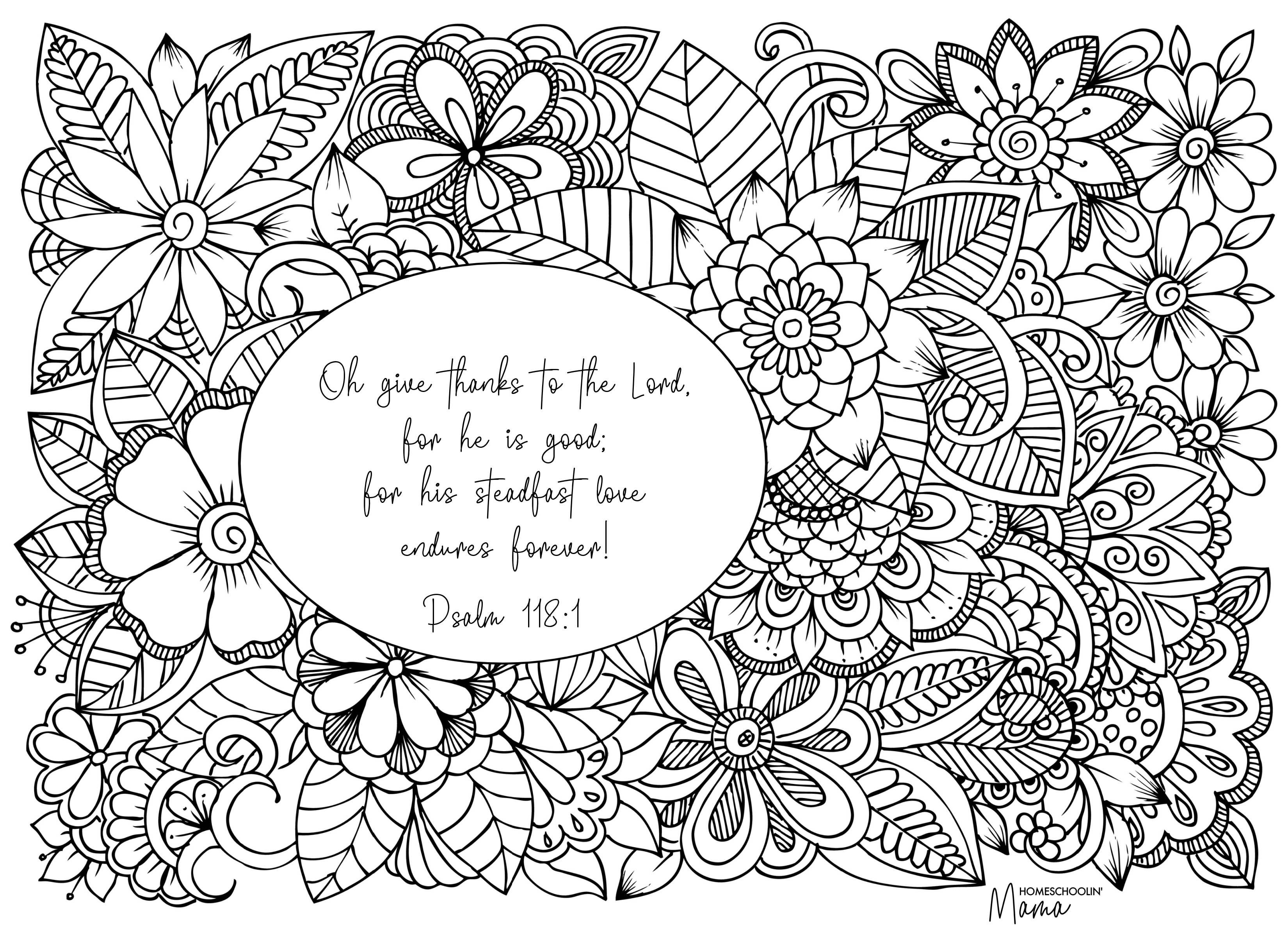 Thankfulness Coloring Page with Homeschoolin Mama