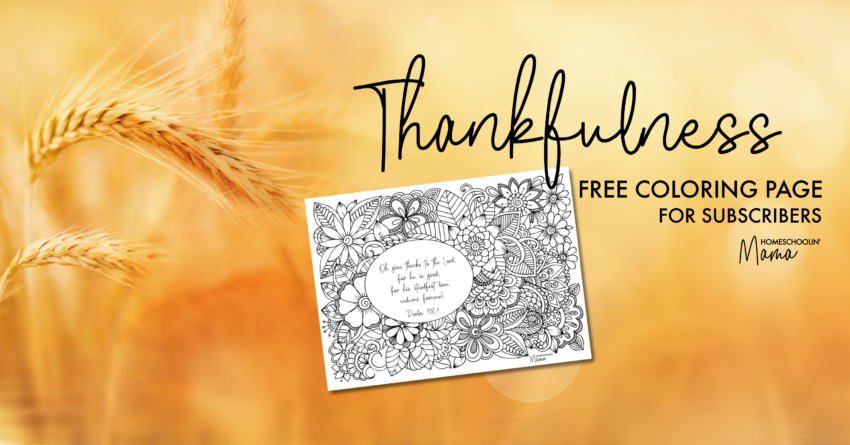 Thankfulness Free Coloring Page for Subscribers