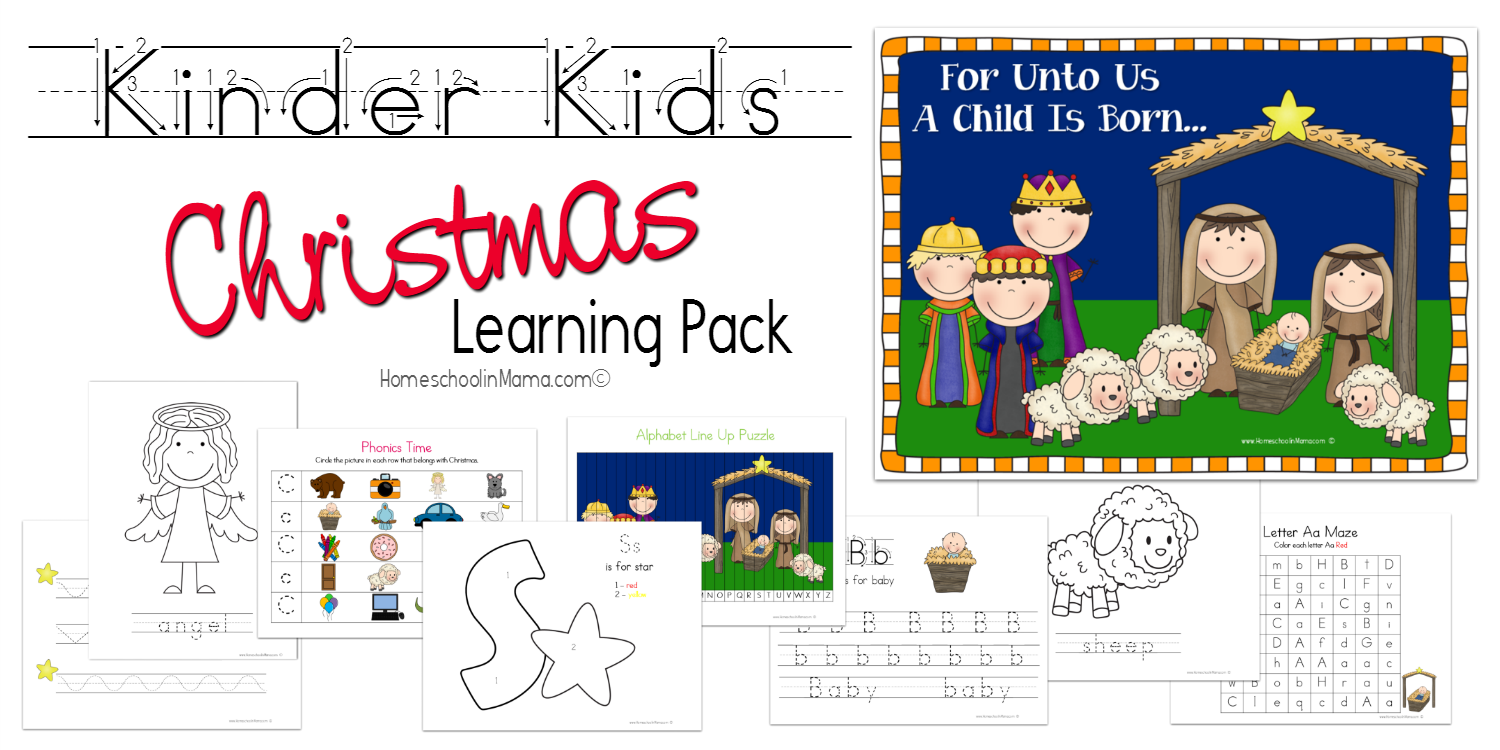 Free For Homeschoolin' Mama Subscribers - Kinder Kids Christmas Learning Pack