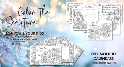 Color the Scriptures and Monthly Calendars