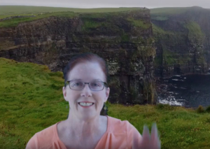 screenshot of author with Cliffs of Mohar green screen