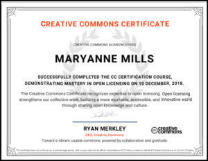 image of my certificate from CC