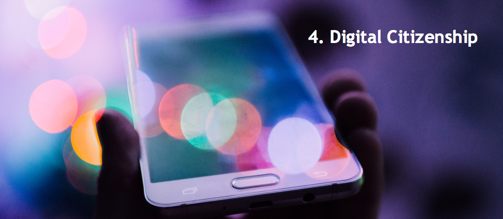 header image of smartphone with title: 4. Digital Citizenship