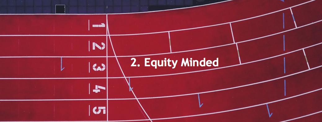 Header Image of running track: 2. Equity Minded