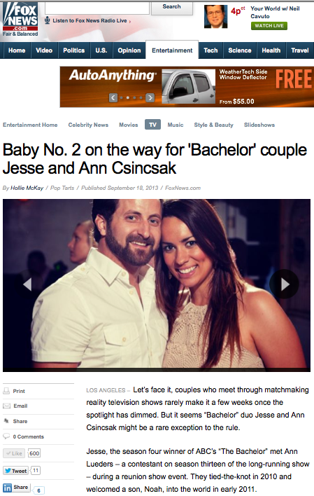 FOX NEWS:  Baby No. 2 on the way for 'Bachelor' couple Jesse and Ann Csincsak