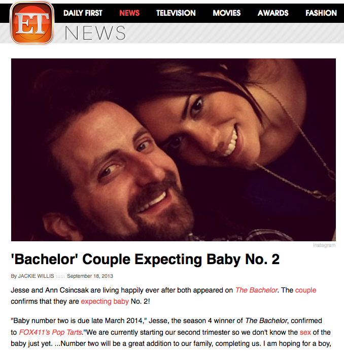 Entertainment Tonight: 'Bachelor' Couple Expecting Baby No. 2