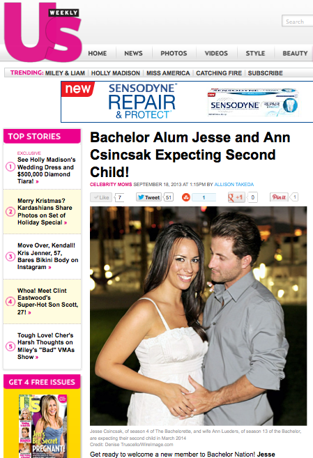 US Weekly:  Bachelor Alum Jesse and Ann Csincsak Expecting Second Child!