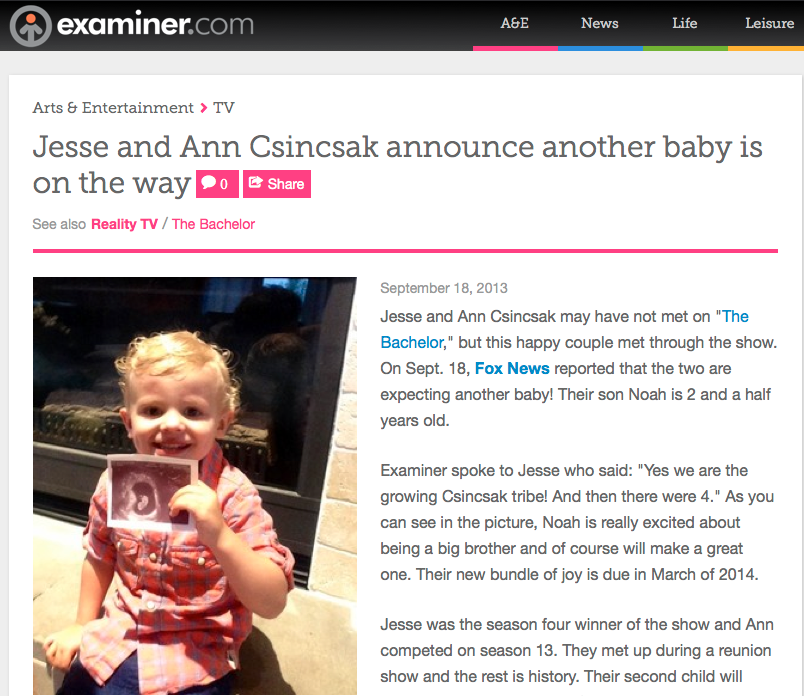 Examiner: Jesse and Ann Csincsak announce another baby is on the way