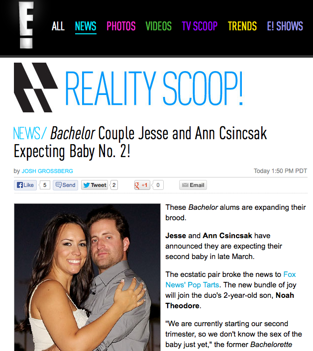 E News: Bachelor Couple Jesse and Ann Csincsak Expecting Baby No. 2!