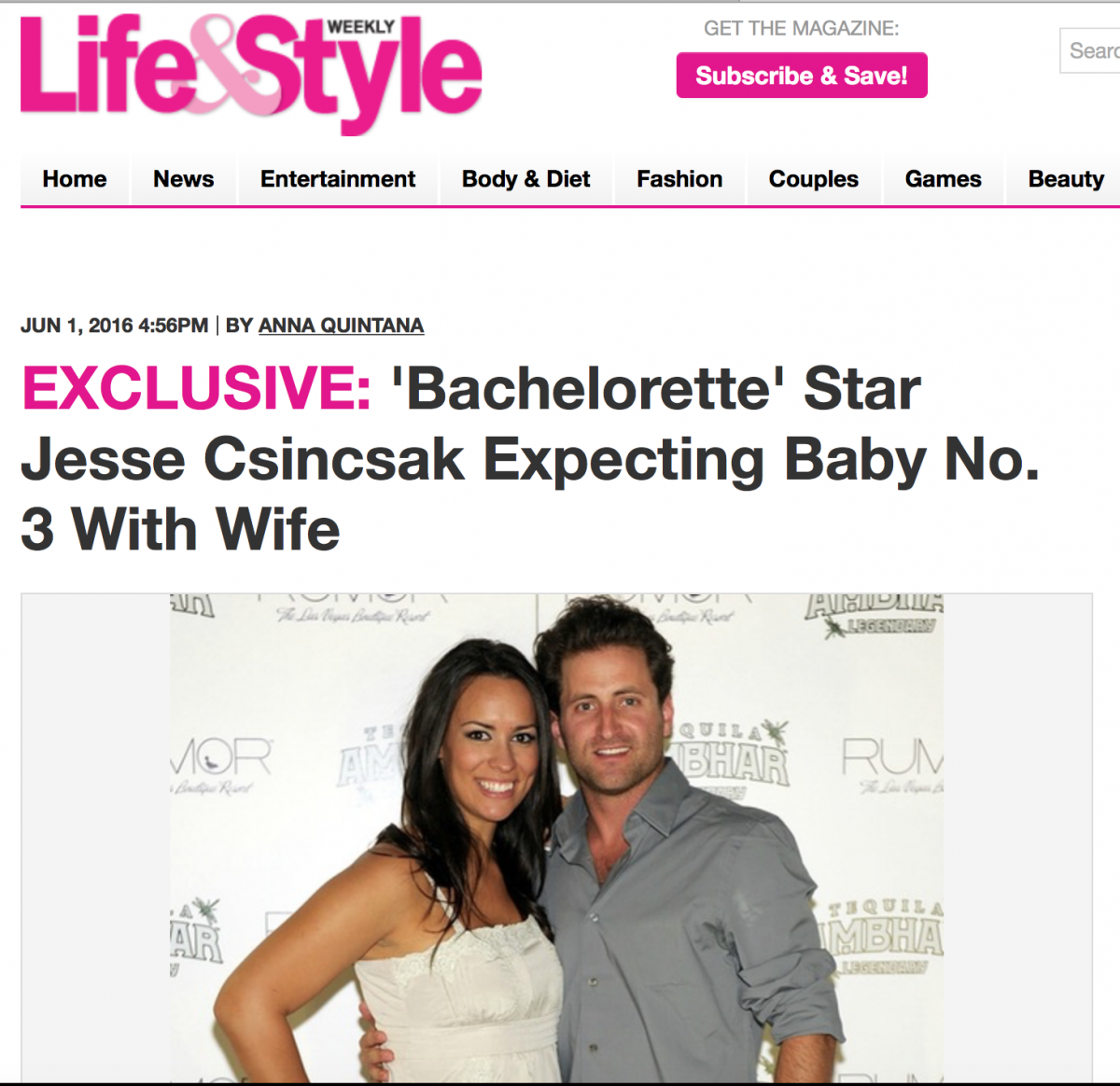 Life & Style Exclusive:'Bachelorette' Star Jesse Csincsak Expecting Baby No. 3 With Wife Ann Csincsak