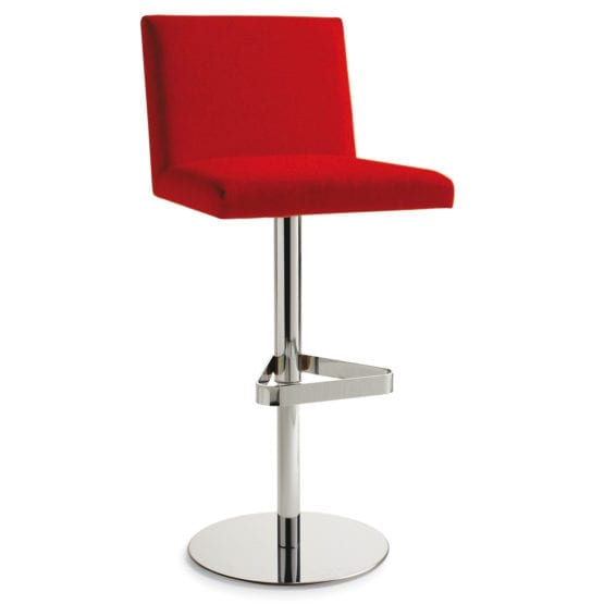 Aceray 683SWIV swivel counter stool with steel column base and upholstered seat and back