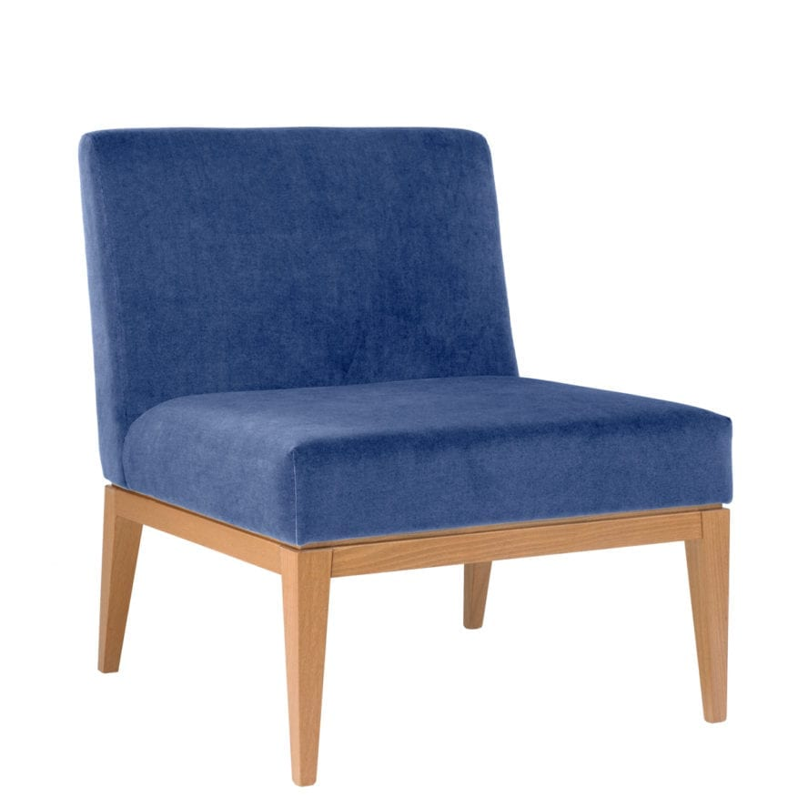 Aceray 783 armless lounge armchair with beech wood frame and upholstered seat and back