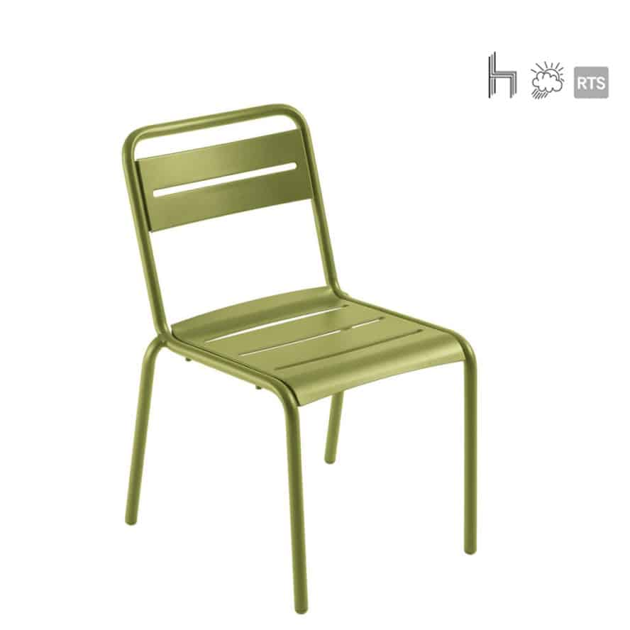 Aceray Pronto-1 outdoor stacking side chair green color