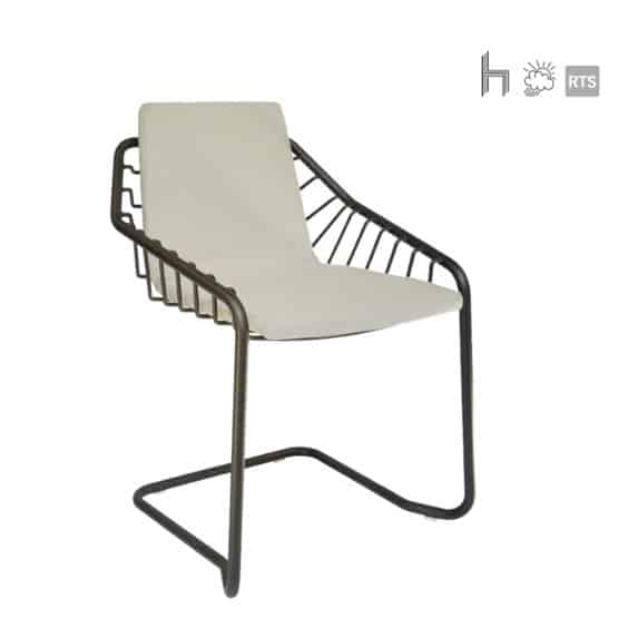 The Aceray Ritmo-3 indoor/outdoor Armchair with brown frame and white cushion
