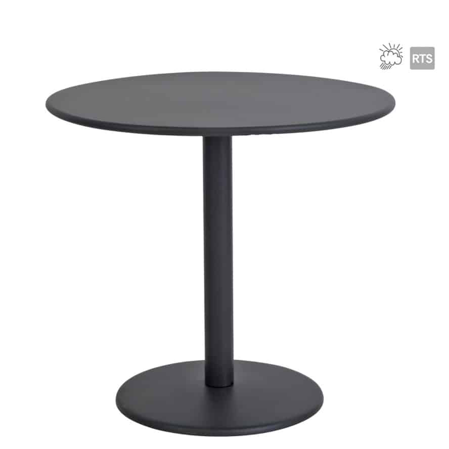Aceray 809 outdoor steel table with round table top