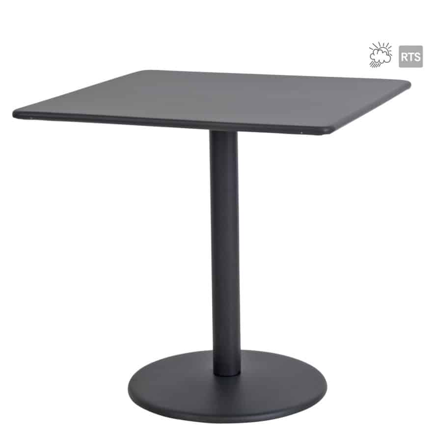 Aceray 810 outdoor steel pedestal table with square table top in black finish