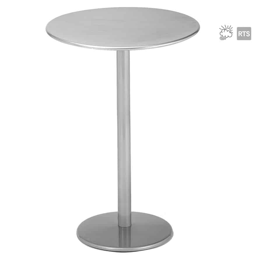 Aceray 909 outdoor steel, 16-inch round, high-top table with round table top in aluminum finish