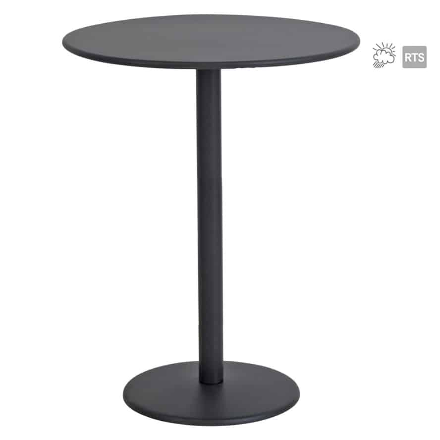 Aceray 909 outdoor steel, 20-inch round, high-top table with round table top in black finish