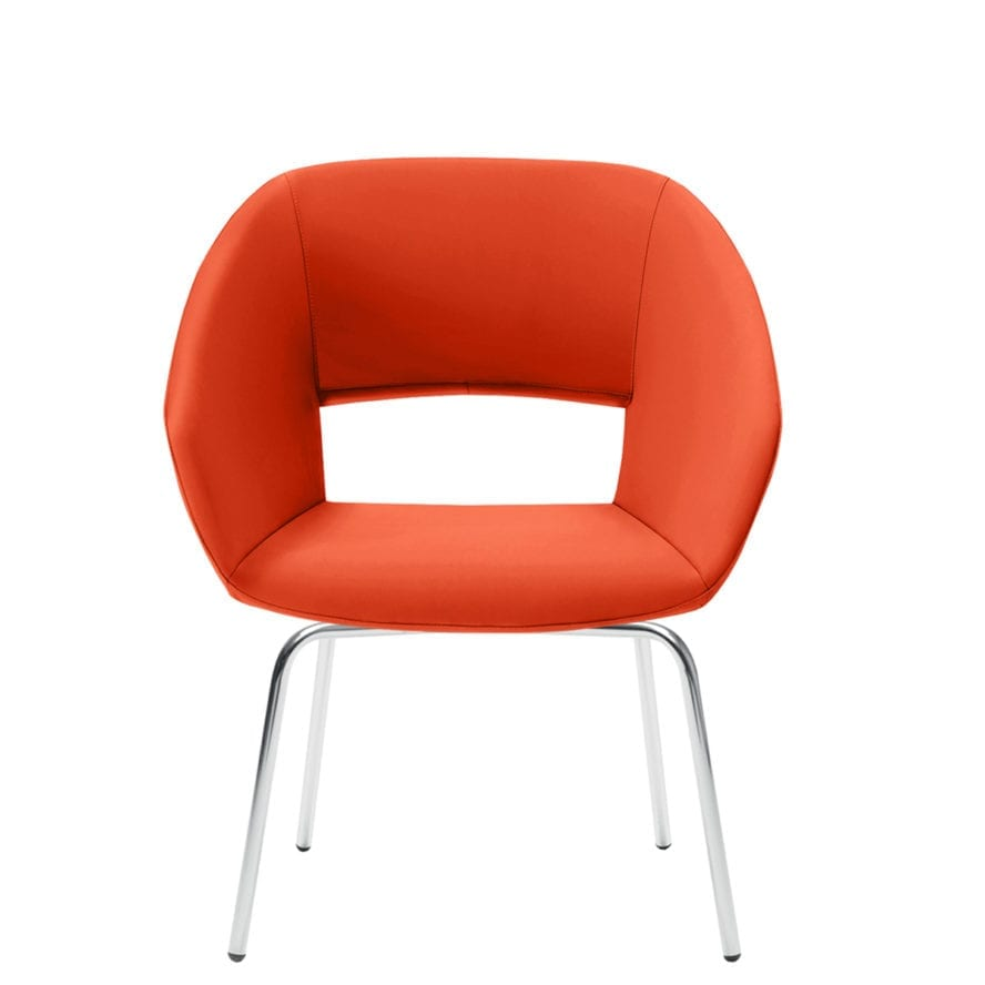 Aceray Ampio-3YM open back armchair with four leg metal base
