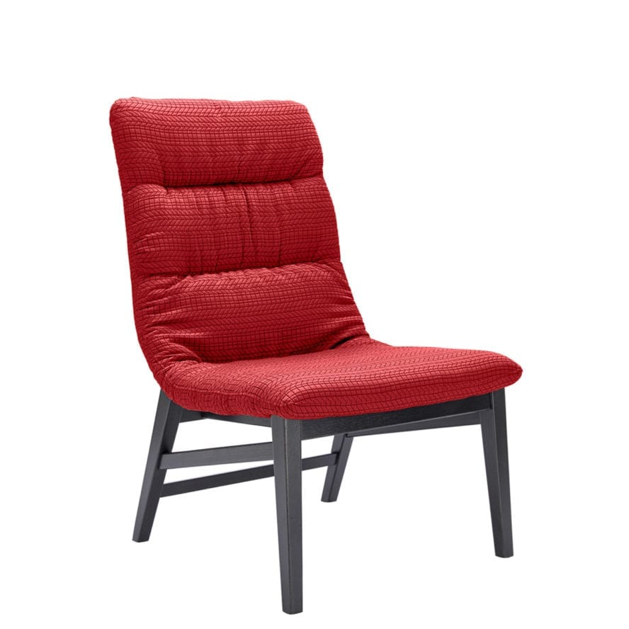 Aceray Ballo-7 lounge chair with red upholstery, front side view