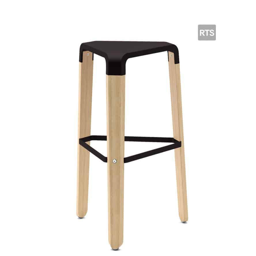 Aceray Sopra5 backless barstool with tripod base and black seat and stretcher