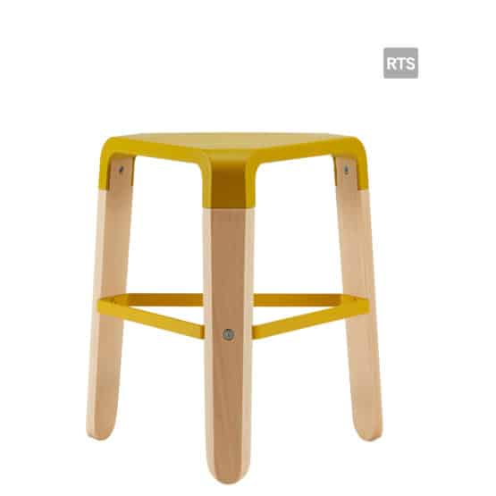 Aceray Sopra-1 backless low stool with tripod base and yellow seat and stretcher